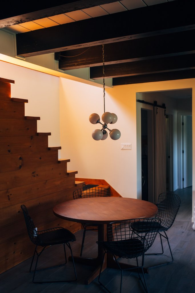 Wooden beams and stairs in undergarden basement