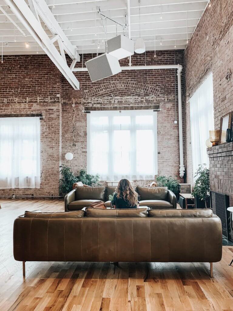 warm and cozy leather slash brick combination