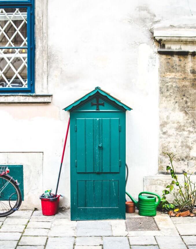 Green wooden shed design