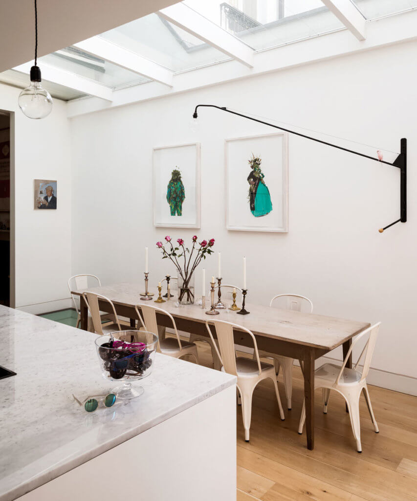 Kitchen extension and dining room with skylight