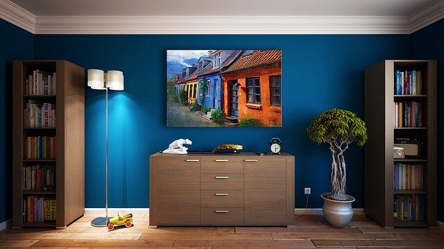 Blue soundproof wall with decor
