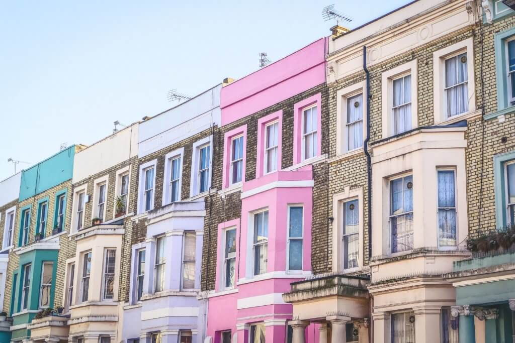 Multi colored London houses