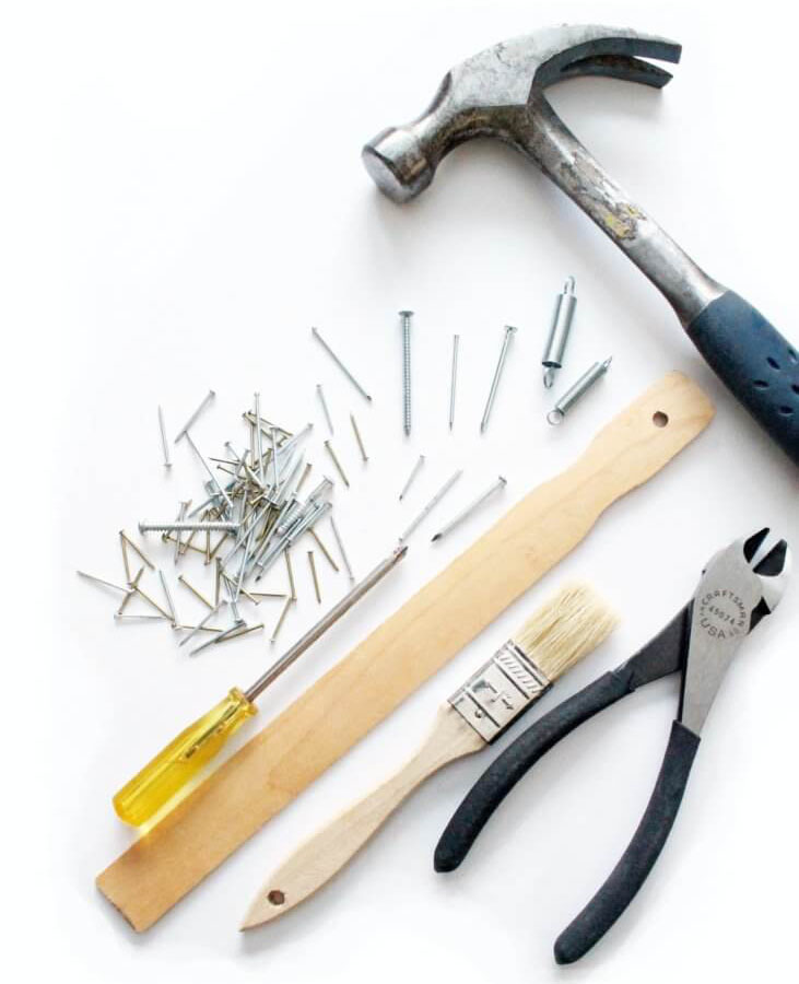 Array of tools for building a shed
