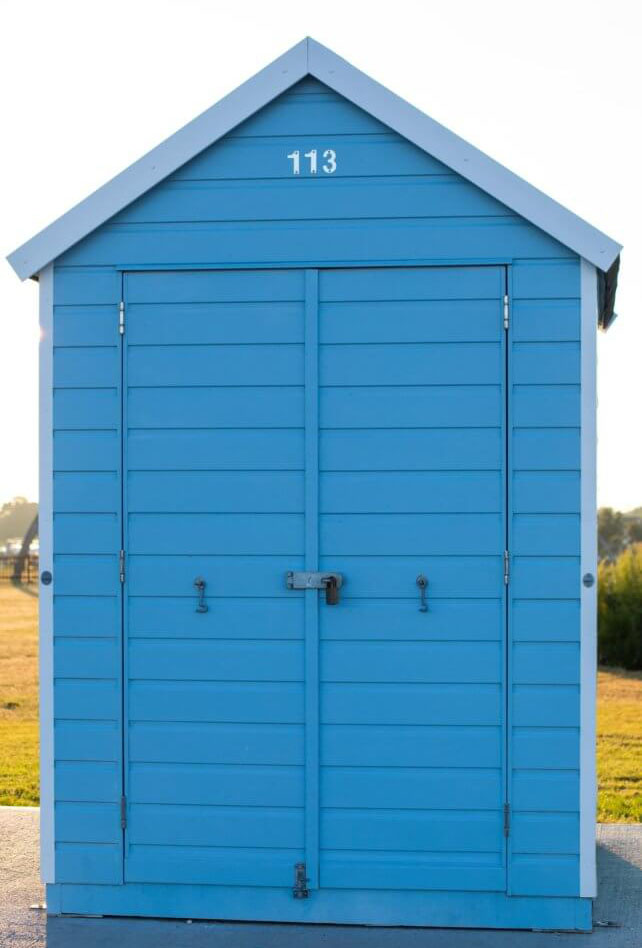 Small shed painted blue