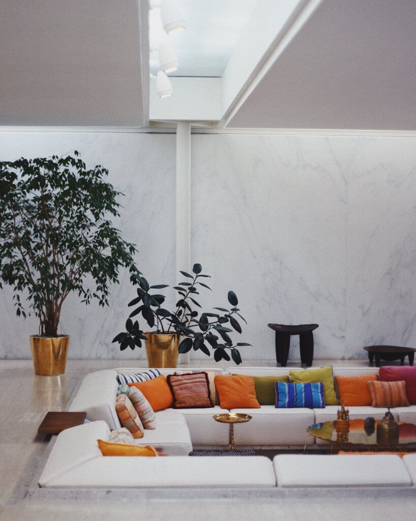 White couch in basement house extension
